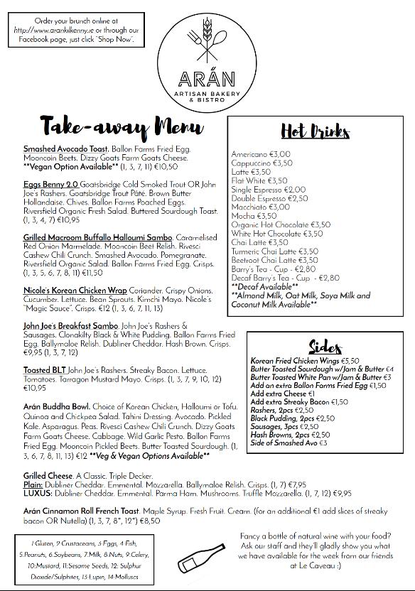 Arán kilkenny menu